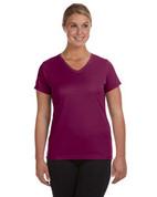 1790 100% Polyester DRI-FIT Lady V-Neck Short-Sleeve T-Shirt - Maroon