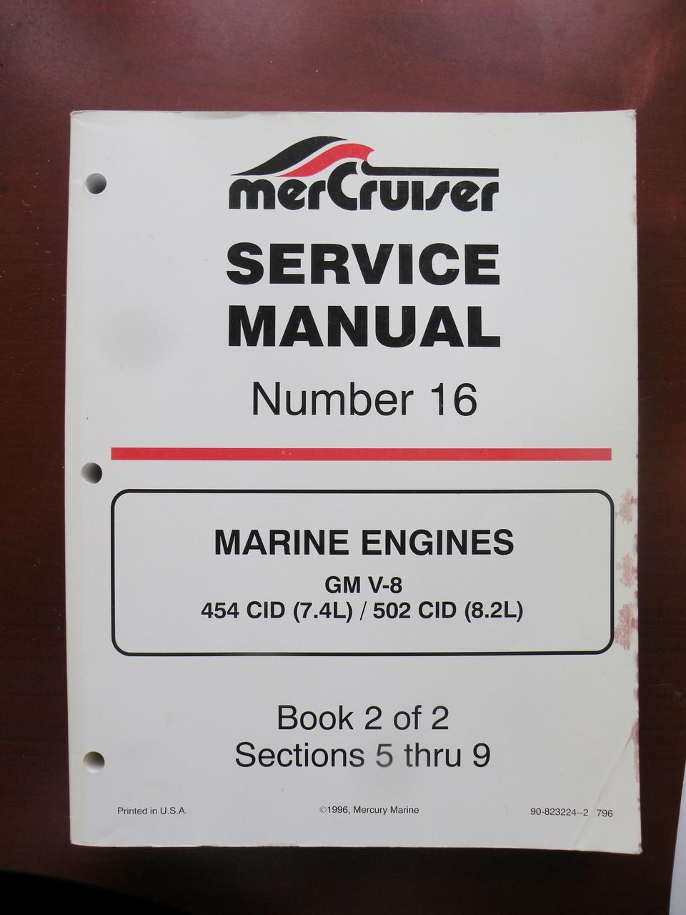 90 8232224 2 mercury mercruiser service manual 16 gm v8 454 502 new rh stores outboardparadise com Mercruiser Alpha One Mercruiser Alpha One