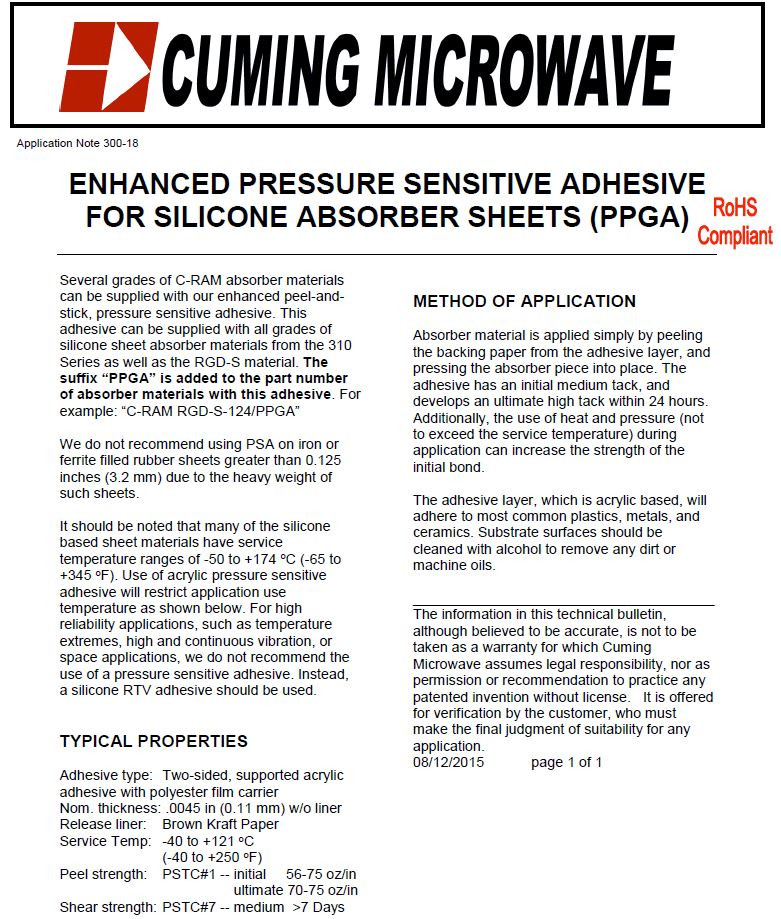 ENHANCED PRESSURE SENSITIVE ADHESIVE FOR SILICONE ABSORBER