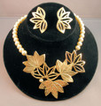 Dauplaise Gold Leaves and Pearl Necklace and Earring Set