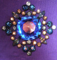 Blue Givre Stone Brooch