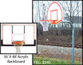"Gared 3.5"" Gooseneck System W/ 36' X 48' Acrylic Backboard & Institutional Breakaway Rim"