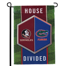 Rivalries are a major reason as to why sports are so thrilling. Now you can show respect to your favorite rivalry in all of sports with this Florida State Seminoles/Florida Gators House Divided flag. This piece of flair allows for both of your team spirit to shine wherever you decide to display it.