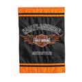"Enjoy this Harley-Davidson original applique garden flag embroidered with the classic bar and shield logo on a nylon weather resistant fabric. Packaged in poly bag with header card. Flag pole sold separately (22001HD) Fade and weather resistant. Condition: New This garden size flag is designed with nylon fabric with tight, detailed machine stitching. Double-sided so it reads correctly on both sides with applique technique layering. Dimensions: 12.5""Wx 18""L Material is fade and weather resistant. Flags can be hung on garden flag pole / stands, sold separately."