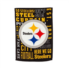 A double-sided suede garden flag for Pittsburgh Steelers fans! Reads: Go Steelers, Steel, Cuptain, Let's Go, Est. 1933, Here we go, Steelers, Fan Cave and more.