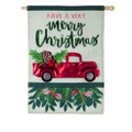 Holiday Red Truck Large House Flag