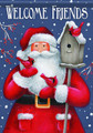 Santa and Birdhouse Small Garden Flag