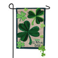 Shamrocks Small Burlap Garden Flag