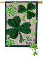 Shamrocks Large Burlap House Flag