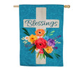 Blessings Floral Cross Large House Flag