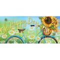 """A vintage bicycle and sunflowers are featured on this Sassafras cushion insert. Reads """"Oh Happy Day"""". Get matching flags: 13S4129BL, 14S4129BL."""