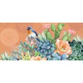 """This Sassafras Switch Mat insert features a medallion background, blue bird, and close-up of succulents design. It reads: """"Welcome"""". Artwork by Elena Vladykina."""