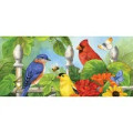 These primary colored birds really are like the gems of summer! The charming birds perch between blooming flowers in a garden on this sassafras switch mat. Perfect for ushering in the summer season in style or welcoming guests and neighbors year round, this door mat is sure to delight. Part of our bestselling Sassafras Mat collection, this mat insert is crafted from printed polyester with a rubber backing, and is designed to fit neatly within any of our sassafras bases and trays. Designs are sublimated onto the outdoor-safe material using fade-resistant inks. Perfect for indoor or outdoor use, these versatile Sassafras mats successfully trap dirt while making a stylish statement.