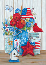 Product details of Patriotic Still Life – Flag By Diane Kater Fine Art Flags printed on 300 denier fabric. Art by Diane Kater Printed in the USA!