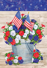 Product details of Patriotic Pail-Fine Art Flag -by Paul Brent Sure to complement your home in every way, our Fine Art Flags are printed on 300 denier fabric, right here in house in the USA, using a fade resistant ink to ensure longevity of each flags' stunning art work.
