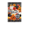 """With classic Halloween colors of black and orange, this Pumpkin Wreath garden suede flag will make a stunning statement for the season. Patterned pumpkins & jack-o-lanterns create a wreath around the sentiment """"Happy Halloween"""" that will greet guests and neighbors in style. This Suede Reflections flag is made of medium-weight, polyester suede that provides a soft and durable texture. Artwork is heat transferred onto the sun-blocking material so that it is easily viewed from both sides. The weatherproof poly-suede will not fray or fade with continued outdoor use. This flag features a sleeve for use with any standard flagpole or stand, sold separately."""