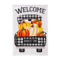 """Add an extra dose of seasonal charm to any home with this Pumpkin Plaid Truck flag. The garden-sized design features a check-patterned truck filled with portly pumpkins. Messages like """"Welcome"""" and """"Harvest Time"""" greet guests in style while adding to the welcoming design. Crafted of medium-weight, soft polyester burlap fabric, this flag has the look and feel of real burlap. Artwork is heat transferred onto both sides of the textured fabric to create a natural, crafted look. The poly-burlap is a durable and weatherproof material that will not fade or fray after continued use. All flags also feature a sleeve at top for use with any standard flagpole or stand, sold separately."""
