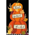 """This Stacked Pumpkins garden flag is an elegant way to make a bold seasonal statement for fall. With the uplifting and welcoming message """"blessed, grateful, thankful"""" the pumpkins offer a striking contrast to the black background that will greet guests in style. Evergreen applique flag is carefully crafted from multiple layers of 310 denier nylon that can withstand a variety of weather conditions. We combine pieces of fade-resistant, strong fabric with tight, detailed stitching to create a dimensional mosaic effect. The soft yet heavyweight material illuminates beautifully in sunlight. Each flag features a sleeve that fits standard flagpoles or stands, sold separately."""