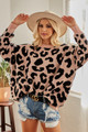 LEOPARD SWEATER TOP.  BLUSH IN COLOR.