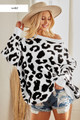 LEOPARD SWEATER TOP.  IVORY IN COLOR.