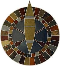 40-inch Slate & Limestone Canoe & Oars Compass Mosaic Medallion