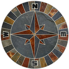 36-inch Natural Slate Compass Rose Mosaic Medallion with NSEW