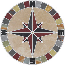 Mariners Compass Rose Mosaic Tile Medallion with Travertine Background and NSEW