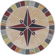 -Mariners Compass Rose Mosaic Medallion with Beige Travertine, Multi Slate, Limestone and Red Quarry Tile