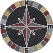 Mariners Compass Rose NSEW Tile Mosaic Medallion with Black & Multicolor Slate