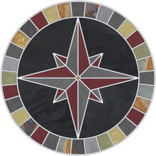 -Mariners Compass Rose Tile Mosaic Medallion with Black & Multicolor Slate