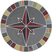 Tile Mosaic Medallion Natural Stone Mariners Compass Rose Gray & Multi Slate