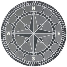 Natural Slate Stone Classic Compass Rose Tile Mosaic Medallion  Black & Gray Slate with Crème Colored Honed Marble NSEW Lettering