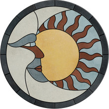 "Sun & Moon Porcelain Tile Mosaic Medallion Backsplash Wall Flooring USA MADE (Choose 12"", 16"", 18"", 24"", 30"" or 36"") T4"