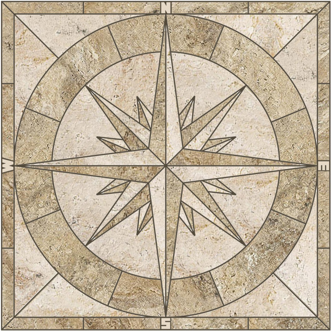 Porcelain Stone Look Tile Mosaic Medallion Captain S