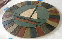"24"" Sailboat Mosaic Tile Medallion with Travertine, Slate, Quarry Tile, & Limestone"