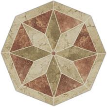 Porcelain Tile Starburst Mosaic Medallion - Terra Rosso