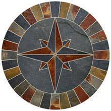 36-inch Natural Slate Compass Rose Mosaic Medallion
