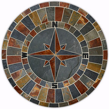 48-inch Natural Slate Compass Rose Mosaic Medallion