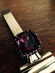 Deep Ruby toned Square cut Purple Crystal with purple crystal border