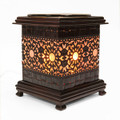 "ALUMINUM BROWN LACE OIL BURNER 6"" TALL"