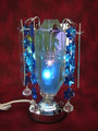 TOUCH BLUE GLASS OIL BURNER WITH HANGING CRYSTALS MM 538B