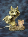 WOLF GREY AND WHITE ELECTRIC POLYRESIN OIL BURNER MM M8130