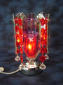 TOUCH RED GLASS OIL BURNER WITH HANGING CRYSTALS MM 538R