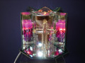 Glass cross electric oil burner.