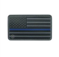 "US Flag Black w/Blue Stripe 3 1/4"" x 2"" Velcro Backed PVC Patch"