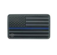 "US Flag Black w/Blue Stripe 3 1/4"" x 2"" Velcro Backed PVC Patch"