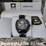 Invicta 38mm Army Quartz Chronograph Stainless Steel Bracelet Watch Black