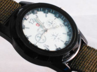 Military Style Sports Watch w/ Green Fabric Band