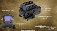 NCSTAR DOT SCOPE 3 ARMORED RAILS SIGHTING SYSTEM