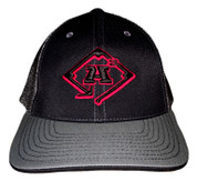 A3 Puff Logo Hat - Black/Charcoal  w/Black & Red logo